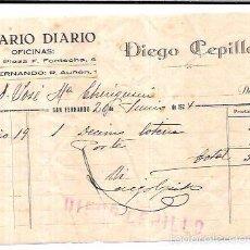 Sellos: FACTURA POR DIEGO CEPILLO. COSARIO. SAN FERNANDO. 1924.. Lote 56380048