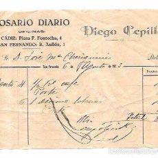Sellos: FACTURA POR DIEGO CEPILLO. COSARIO. SAN FERNANDO. 1923.. Lote 56380067