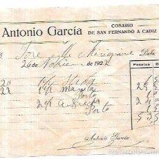 Sellos: FACTURA POR ANTONIO GARCIA. COSARIO. SAN FERNANDO - CADIZ. 1922.. Lote 56380107