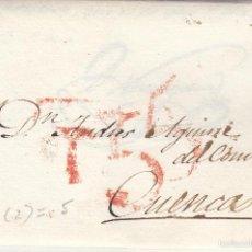 Sellos: PREFILATELIA.- CARTA COMPLETA DE MADRID A CUENCA --1834--- DOBLE MARCA ---. Lote 56576993