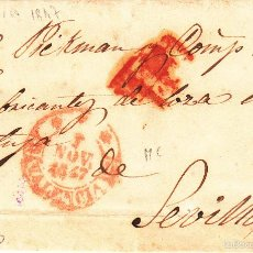 Sellos: PREFILATELIA.- CARTA COMPLETA DE VALENCIA A SEVILLA --1847---. Lote 56591993