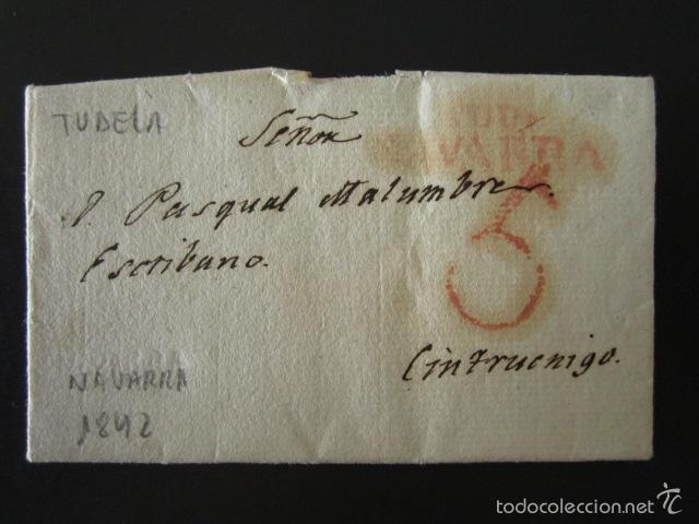 PREFILATELIA AÑO 1842. DE TUDELA A CINTRUÉNIGO (NAVARRA). CARTA PREFILATÉLICA. (Filatelia - Sellos - Prefilatelia)