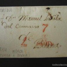 Sellos: PREFILATELIA AÑO 1834. LÉRIDA. MARCA LLEGADA A BARNA. CARTA PREFILATÉLICA. . Lote 57158561