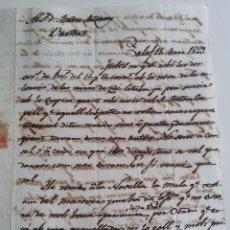 Sellos: CALAF A BARCELONA AÑO 1829 CARTA EN CATALÁN * COMERCIO DE MULAS. Lote 57397695