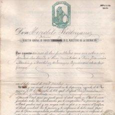 Sellos: DIRECTOR GENERAL DE CORREOS Y MINISTRO DE LA GOBERNACION, AÑO 1874, NOMBRER 1A CLASE DE CORREOS,VER. Lote 67384189