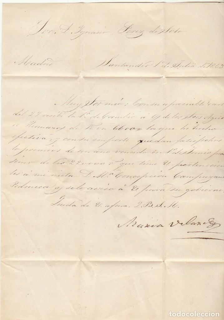 Sellos: SANTANDER a MADRID. 1853. - Foto 2 - 69232965