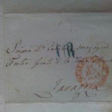 Sellos: PREFILATELIA ARAGÓN ENVUELTA 1849 DE ALCAÑIZ A ZARAGOZA PORTEO 1R. Lote 69816194