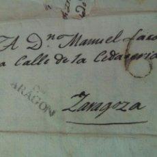 Sellos: PREFILATELIA ARAGÓN CARTA 1825 DE TARAZONA A ZARAGOZA MARCA TARAZONA Y LLEGADA A ZARAGOZA PORTEO 6. Lote 72342634