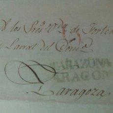Sellos: PREFILATELIA ARAGÓN CARTA 1840 DE TARAZONA A ZARAGOZA MARCA TARAZONA PORTEO 6. Lote 72343535