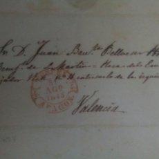 Sellos: PREFILATELIA ARAGÓN ENVUELTA A VALENCIA 1845 BAEZA TERUEL. Lote 72356703