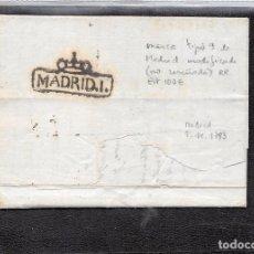 Sellos: 1793.-CARTA DE MADRID A GENOVA.-MARCA EN EL RVERSO. MADRID MODIFICADA TIPO 9 NO RESEÑADA RR.. Lote 73864351
