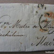 Sellos: PREFILATELIA CASTILLA : CARTA BURGOS / MADRID AÑO 1827 3 NOVIEMBRE CON PORTEO Y FECHADOR. Lote 76544935