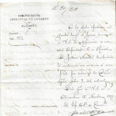 Sellos: ADMINISTRACION PRINCIPAL CORREOS ALICANTE DOCUMENTO FILATELIA DIFICIL ENCONTRAR 1891. Lote 78279245
