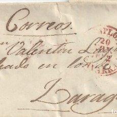 Sellos: CARTA PREFILATELIA PREFILATELICA MANUSCRITO CORREOS PAMPLONA NAVARRA ZARAGOZA FRANQUICIA 1852. Lote 78284581