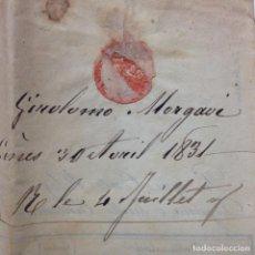 Sellos: PREFILATELIA NIZZA CARTA DE 1831. Lote 83371028