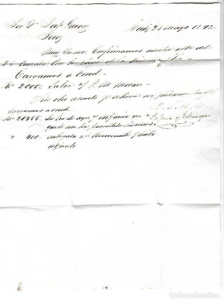 Sellos: CARTA. 1842. DE LACAVE Y ECHECOPAR, CADIZ A GARVEY, JEREZ. VER - Foto 2 - 84799664