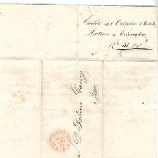 Sellos: CARTA. 1843. DE LACAVE Y ECHECOPAR, CADIZ A GARVEY, JEREZ. VER. Lote 84908160