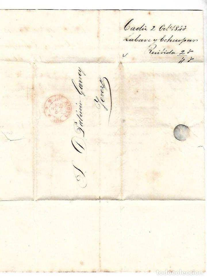 CARTA. 1843. DE LACAVE Y ECHECOPAR, CADIZ A GARVEY, JEREZ. VER (Filatelia - Sellos - Prefilatelia)