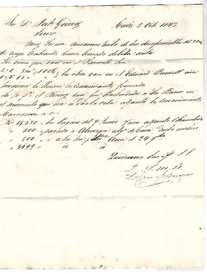 Sellos: CARTA. 1843. DE LACAVE Y ECHECOPAR, CADIZ A GARVEY, JEREZ. VER - Foto 2 - 84908460