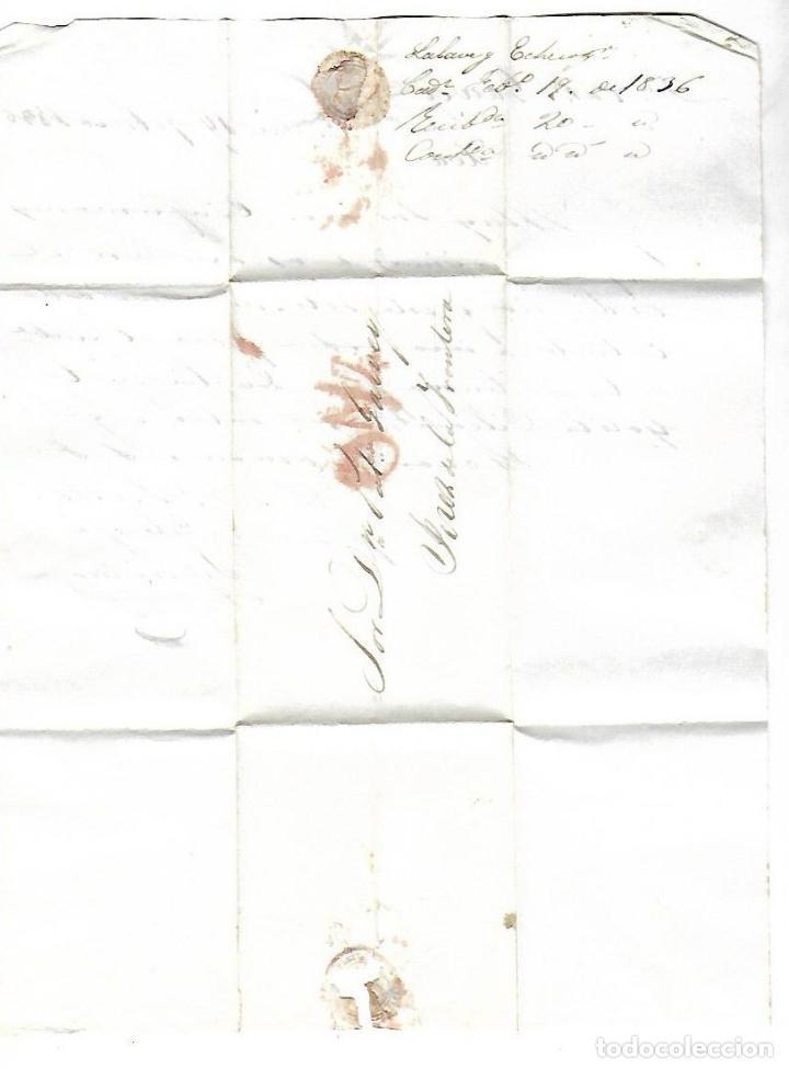 CARTA. 1836. DE LACAVE Y ECHECOPAR, CADIZ A GARVEY, JEREZ. VER (Filatelia - Sellos - Prefilatelia)