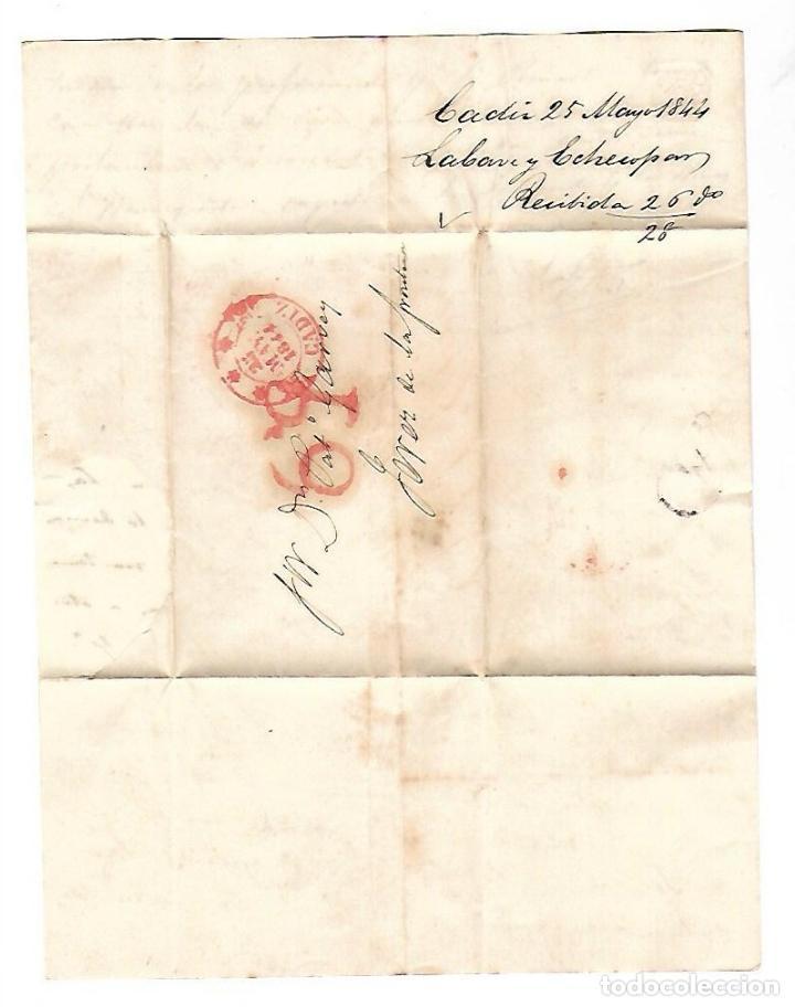 CARTA. 1844. DE LACAVE Y ECHECOPAR, CADIZ A GARVEY, JEREZ. VER (Filatelia - Sellos - Prefilatelia)