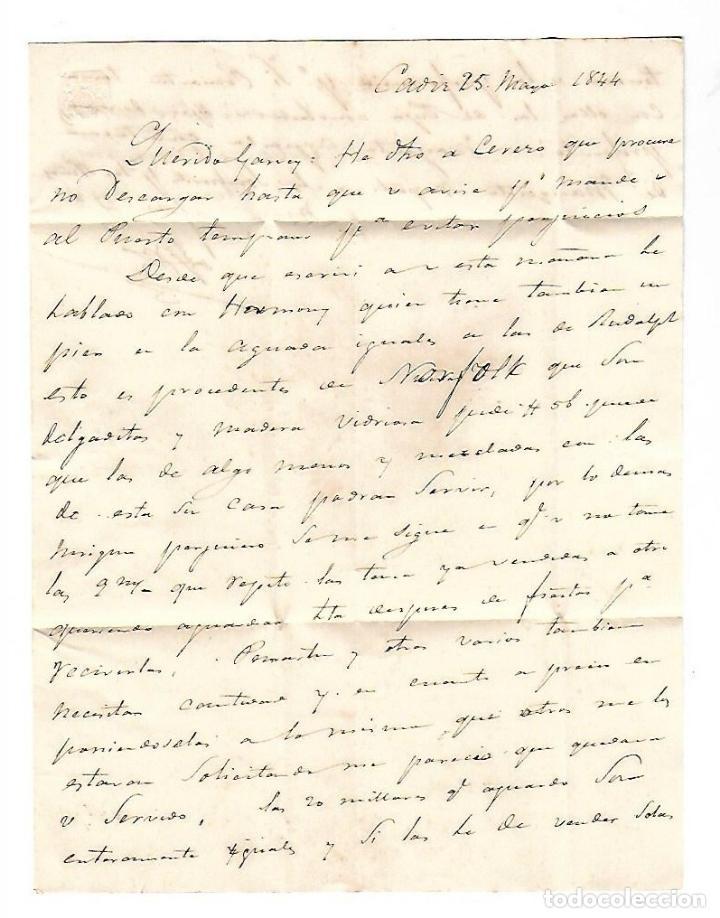 Sellos: CARTA. 1844. DE LACAVE Y ECHECOPAR, CADIZ A GARVEY, JEREZ. VER - Foto 2 - 84908732