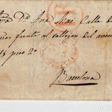 Sellos: PREFILATELIA-CARTA COMPLETA DE CASTELLÓN A BARCELONA -1852-- PORTEO 1R. Lote 86866052