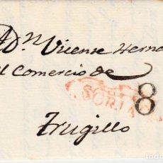 Sellos: PREFILATELIA-CARTA COMPLETA DE VALDEAVELLANO -SORIA A TRUJILLO -1841-- PORTEO 8 NEGRO. Lote 86872344