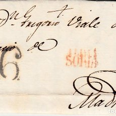 Sellos: PREFILATELIA-CARTA COMPLETA DE SORIA A MADRID -1820-- PORTEO 6 NEGRO. Lote 86872544