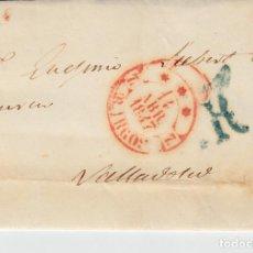 Sellos: PREFILATELIA - ENVUELTA DE BURGOS A VALLADOLID -1847- PORTEO 1R VERDE. Lote 86872976