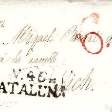 Sellos: PREFILATELIA-CARTA COMPLETA DE VILLANUEVA Y LA GELTRÚ -VILANOVA- A VIC 1836- PORTEO 6 TRAZO FINO. Lote 86874036
