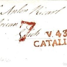 Sellos: PREFILATELIA-CARTA COMPLETA DE VALLS A VIC -1840 -PORTEO 7. Lote 86874664