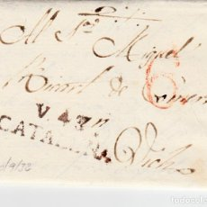 Sellos: PREFILATELIA-CARTA COMPLETA DE VALLS A VIC -1832 -PORTEO 6 VARIANTE COLOR TINTA --MARCA NUM 4 NEGRA-. Lote 86874884
