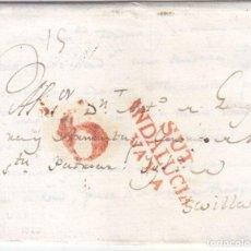 Sellos: PREFILATELIA. CARTA ENTERA DE UTRERA. SEVILLA. 1820 A UN CANÓNIGO DE LA CATEDRAL. MUY BONITA. Lote 87568388