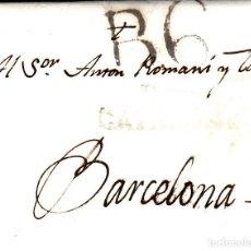 Sellos: PREFILATELIA - CARTA COMPLETA DE REUS -1816- A BARCELONA MARCA NUM. 9 PORTEO B6 Y MARCA LLEGADA. Lote 88353640