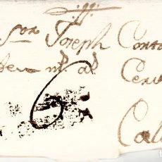Sellos: PREFILATELIA - CARTA COMPLETA DE MONTBLANC -1799- A CALAF MARCA NUM. 1 PORTEO 6 ---RR---. Lote 88354148