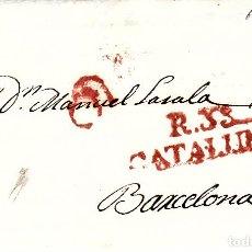 Sellos: PREFILATELIA - CARTA COMPLETA DE REUS -1827- A BARCELONA MARCA NUM. 10 PORTEO 6 ----RR----. Lote 88355280