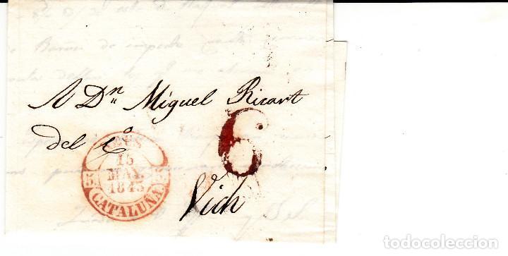 PREFILATELIA - CARTA COMPLETA DE REUS -1843- A VIC MARCA NUM. 12 PORTEO 6 (Filatelia - Sellos - Prefilatelia)
