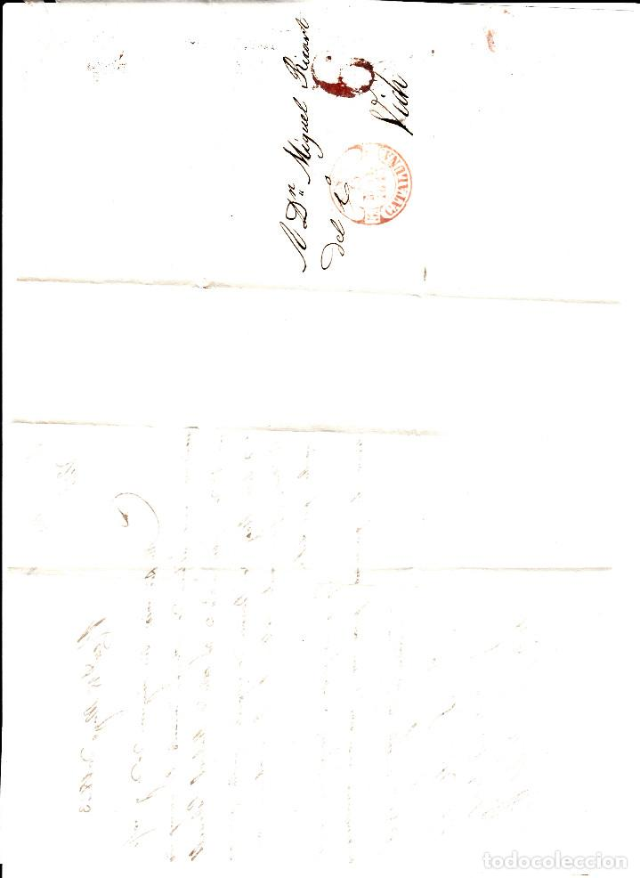 Sellos: PREFILATELIA - CARTA COMPLETA DE REUS -1843- A VIC MARCA NUM. 12 PORTEO 6 - Foto 2 - 88355636