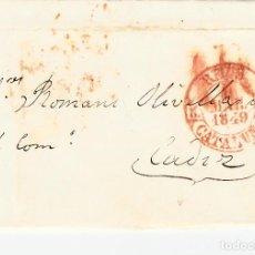 Sellos: PREFILATELIA - CARTA COMPLETA DE REUS -1849 A CADIZ MARCA NUM. 12 PORTEO 1R. Lote 89368256