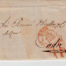 Sellos: PREFILATELIA - CARTA COMPLETA DE REUS (1849) A CÁDIZ MARCA NUM. 12 PORTEO 1R. Lote 89369976