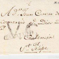 Sellos: PREFILATELIA -ENVUELTA DE REUS A SAN FELIPE MARCA NUM 4 (1787-1790) ----RR----. Lote 89373120