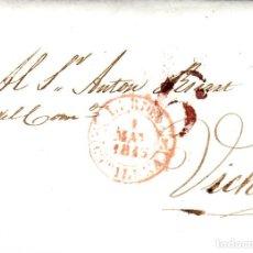 Sellos: PREFILATELIA - CARTA COMPLETA DE LLEIDA (LERIDA) (1843) A VIC MARCA NUM. 12 PORTEO 6. Lote 96167423