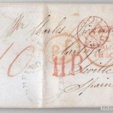 Sellos: PREFILATELIA. CARTA ENTERA DE INGLATERRA A LA CARTUJA DE SEVILLA. 1850. PORTEO 11 REALES.. Lote 97932211