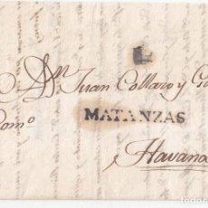 Sellos: PREFILATELIA. CARTA DE MATANZAS A LA HABANA. CUBA. 1836.. Lote 98075187