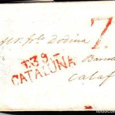 Sellos: PREFILATELIA CARTA COMPLETA DE TARRAGONA (1818) A BARCELONA MARCA NUM.13. Lote 98574159