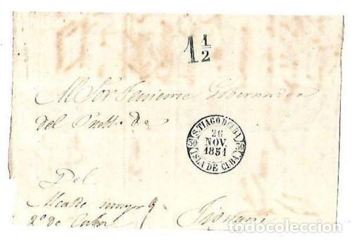 PLICA. DE SANTIAGO DE CUBA A TIOMANI. 1851 (Filatelia - Sellos - Prefilatelia)