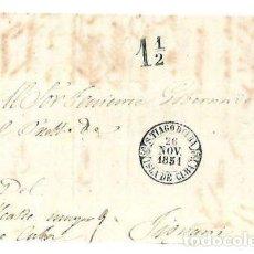 Sellos: PLICA. DE SANTIAGO DE CUBA A TIOMANI. 1851. Lote 98739583