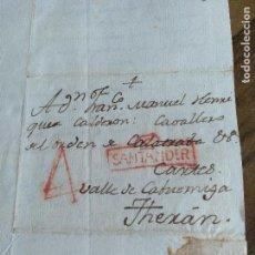 Sellos: CARTA PREFILATELIA DE SANTANDER A VALLE DE CABUERNIGA THERAN. FECHADA 1794. Lote 99644695