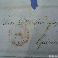 Sellos: PREFILATELIA GALICIA 1851 CON SELLO DE BETANZOS GALICIA. Lote 99748907